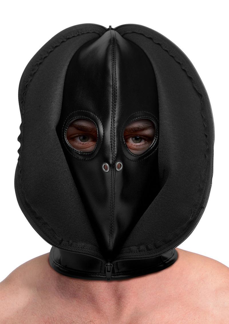 Strict Zip Front Bondage Hood - Black