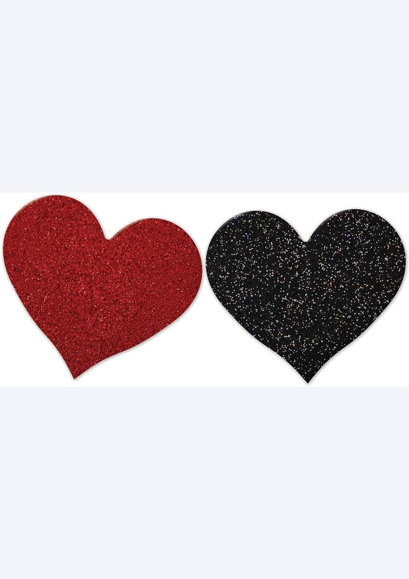 NIPPLICIOUS Heart Shape Pasties - Red/Black