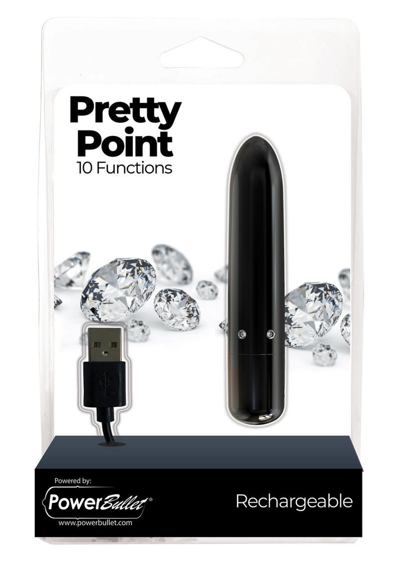PowerBullet Pretty Point Rechargeable Bullet Vibrator - Black