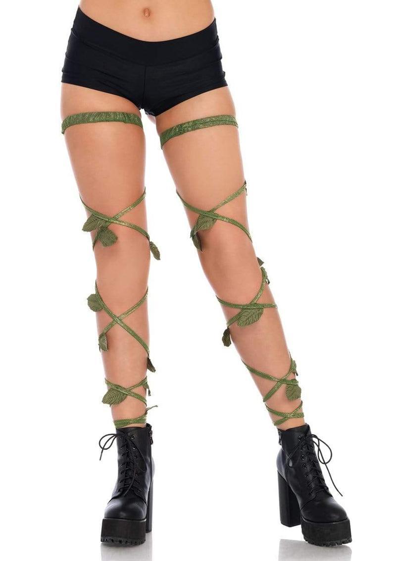 Leg Avenue Ivy Shimmer Garter Leg Wraps - O/S - Green