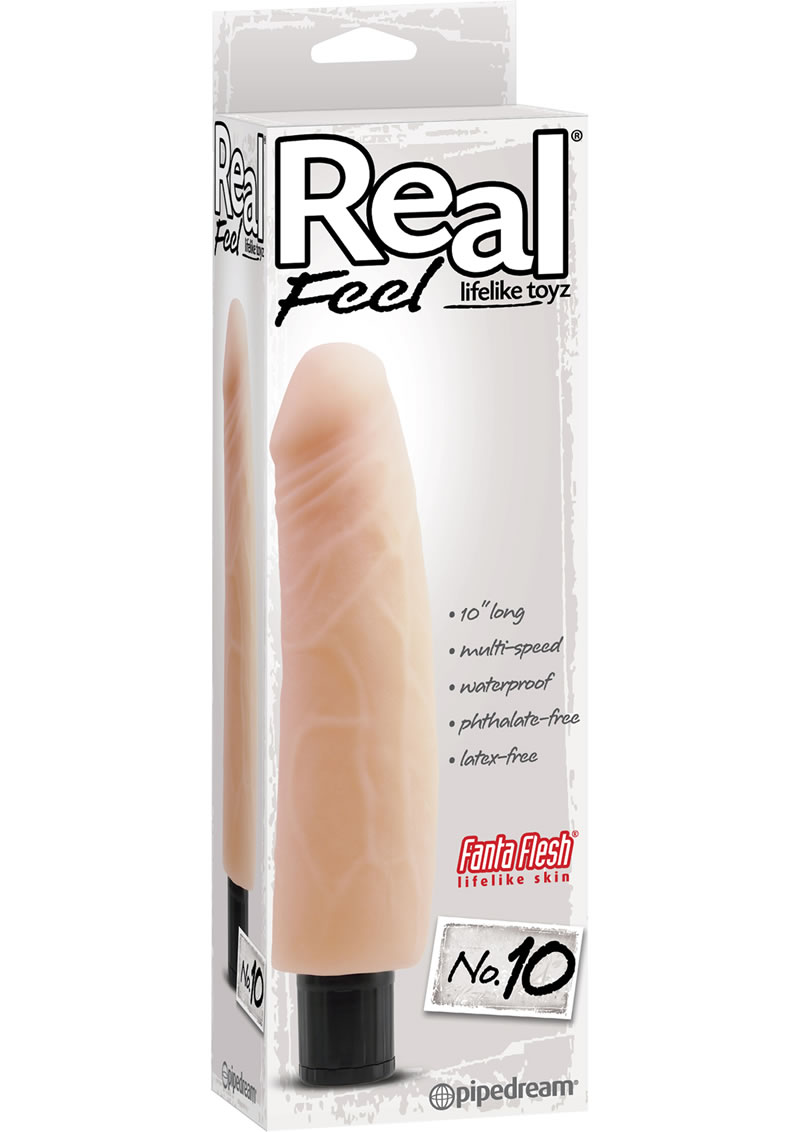 Real Feel Lifelike Toyz No. 10 Realistic Vibrating Dildo 10in - Vanilla