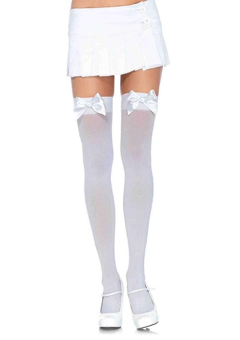 Leg Avenue Nylon Over the Knee With Bow - Plus Size - White