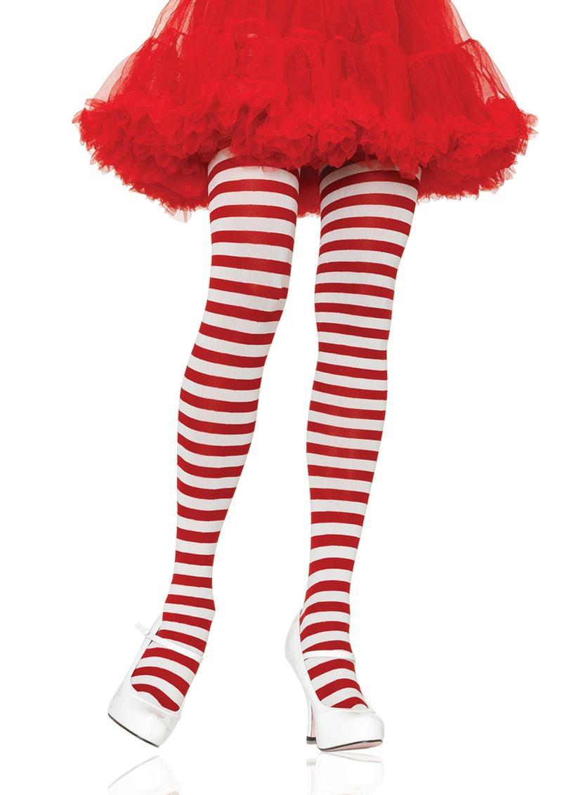 Leg Avenue Striped Tights - Plus Size - White/Red