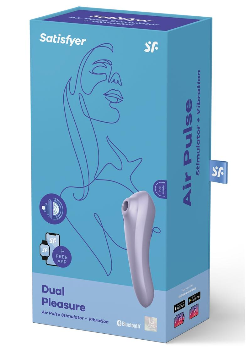 Satisfyer Dual Pleasure Rechargeable Silicone Vibrator With Clitoral Stimulator - Mauve