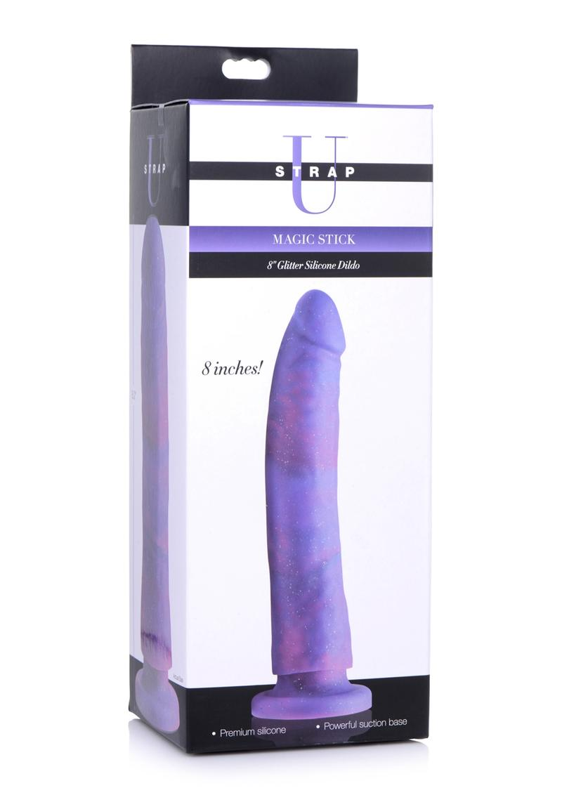 Strap U Magic Stick Glitter Silicone Dildo 8in - Purple