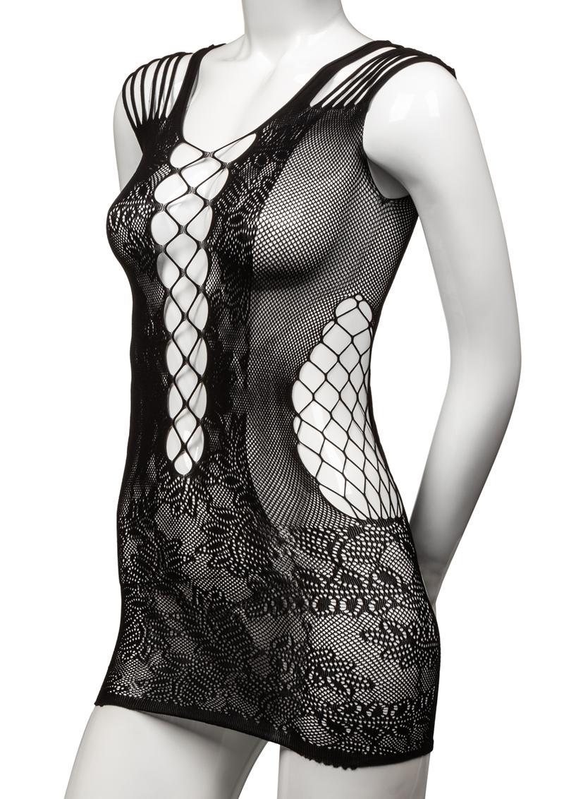 Scandal Peek-A-Boo Mini Dress - Plus Size - Black