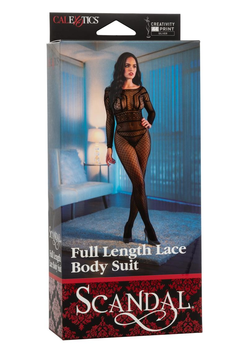 Scandal Full Length Lace Body Suit - O/S - Black