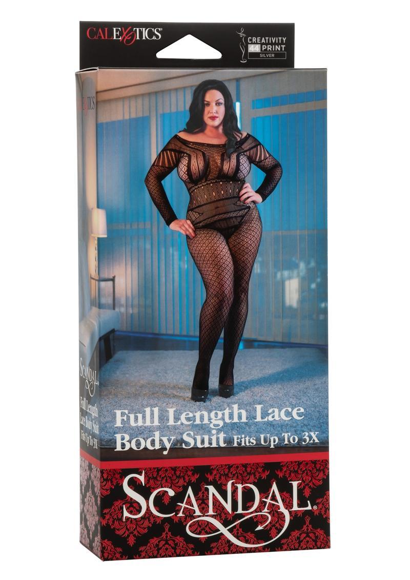 Scandal Full Length Lace Body Suit - Plus Size - Black