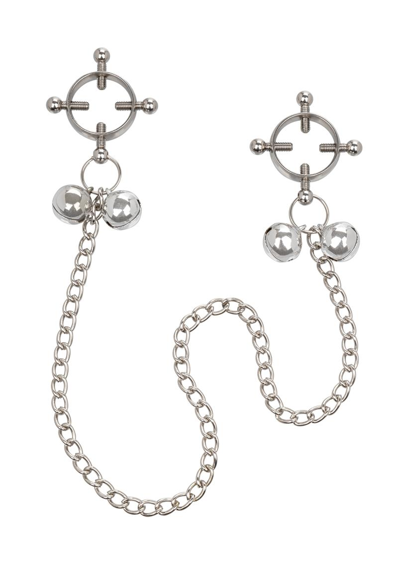 Nipple Grips 4-Point Nipple Press With Bells - Silver