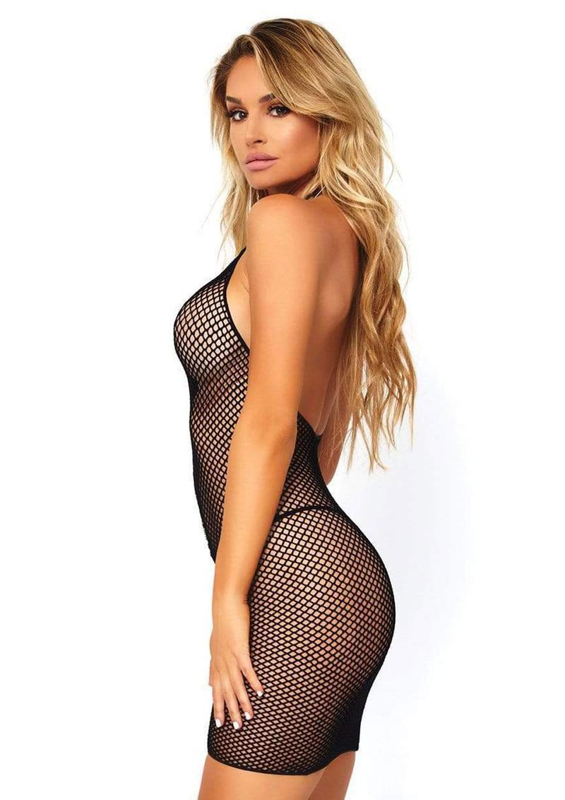 Leg Avenue Fishnet Zip Up Halter Mini Dress - O/S - Black
