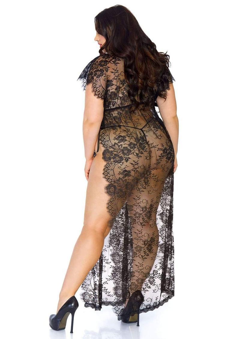 Leg Avenue Eyelash Lace Long Kaftan Robe With Satin Ribbon Side Ties And Matching G-String (2 Piece) - 1X-2X - Black