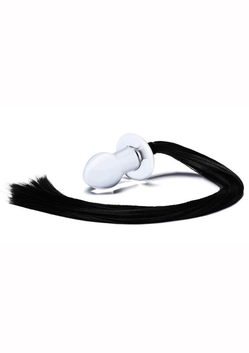 Glas Stallion Butt Plug - Clear/Black