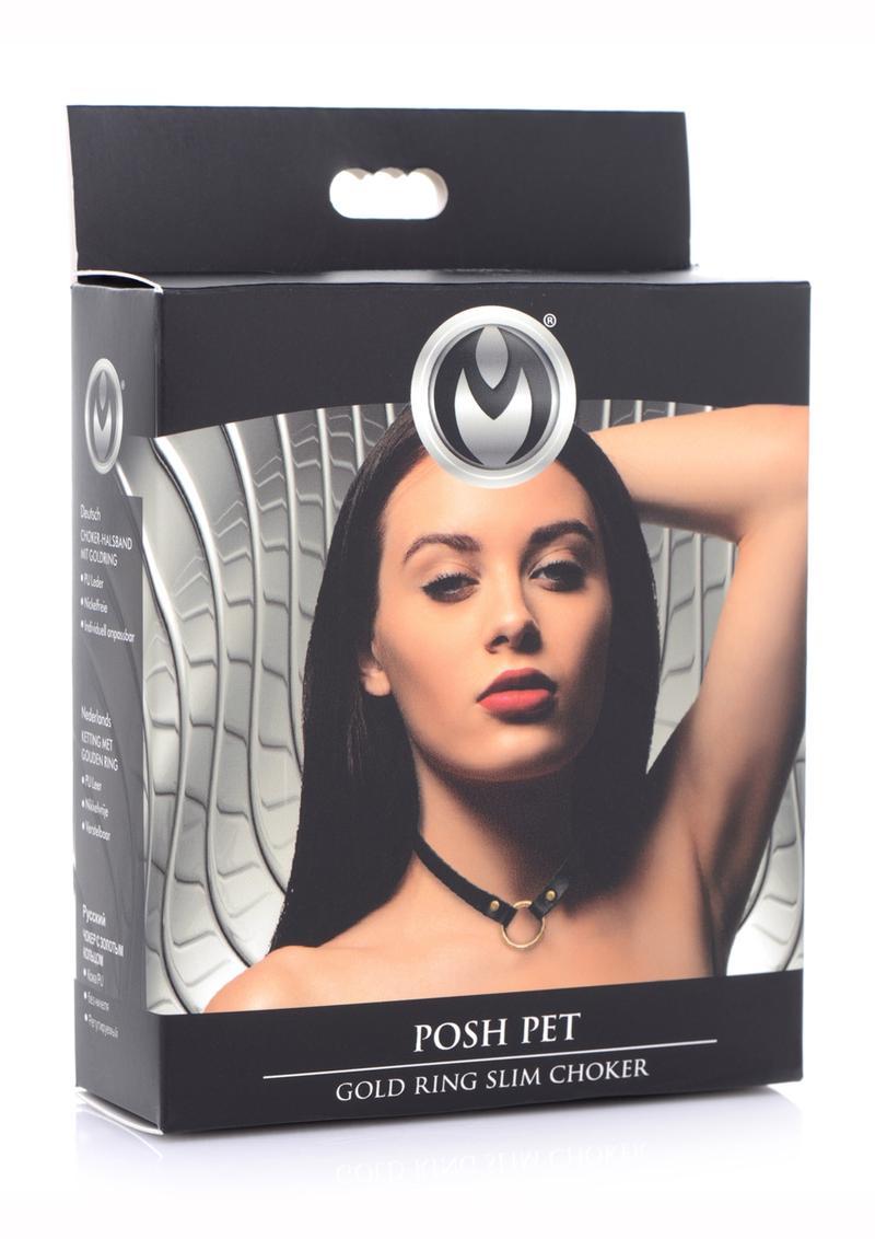 Master Series Posh Pet Gold Ring Slim Choker - Black/Gold
