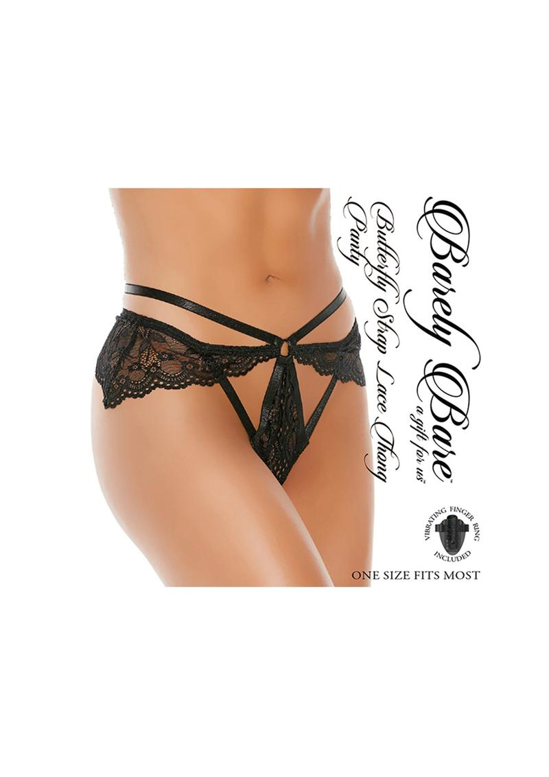 Barely Bare Butterfly Strap Lace Thong Panty - O/S - Black