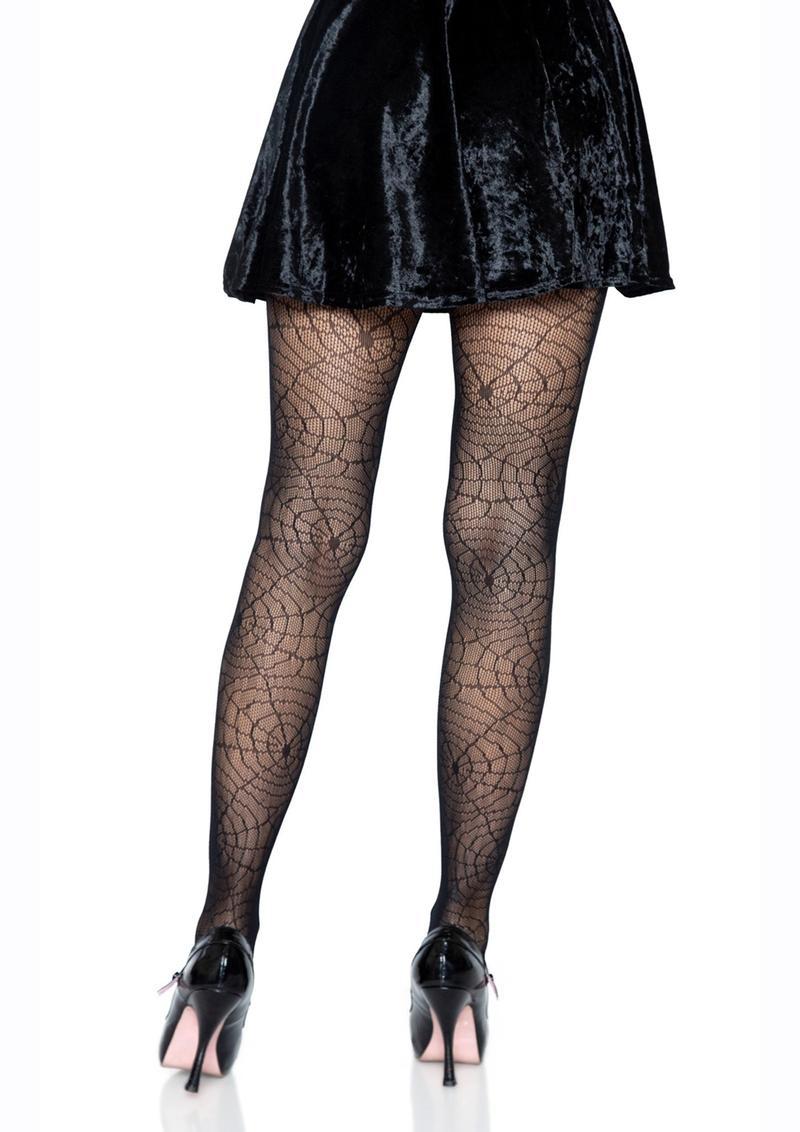 Leg Avenue Spider Lace Pantyhose - O/S - Black