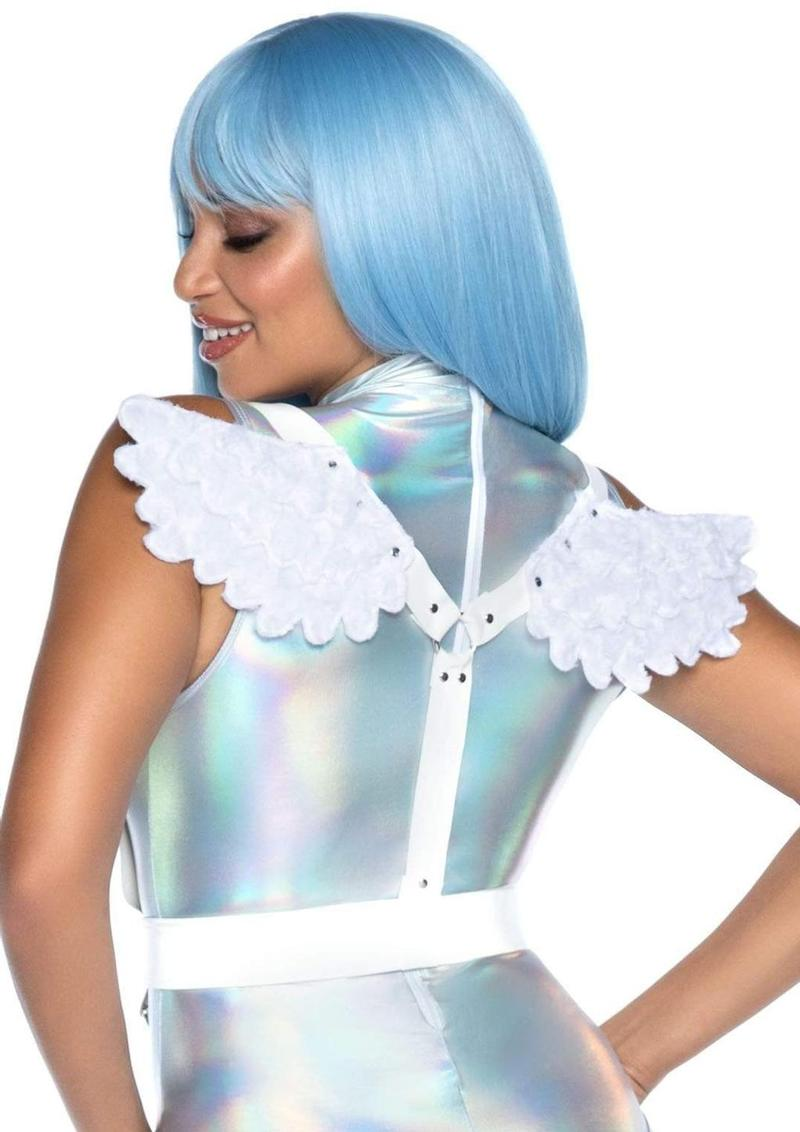 Leg Avenue Furry Angel Wing Body Harness - O/S - White