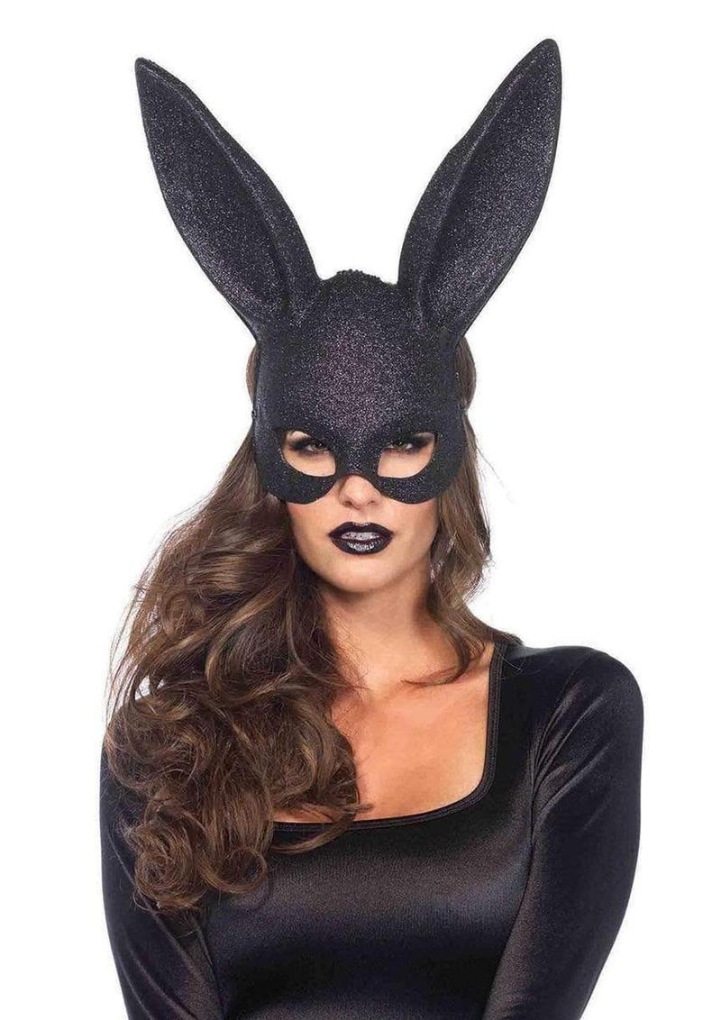 Leg Avenue Glitter Masquerade Rabbit Mask (6 Piece Per Box) - O/S - Black