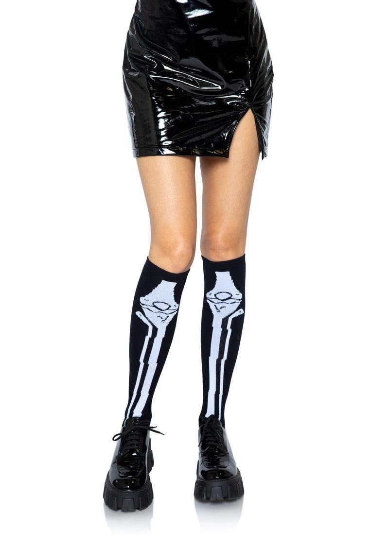 Leg Avenue Skeleton Over The Knee Socks - O/S - Black/White