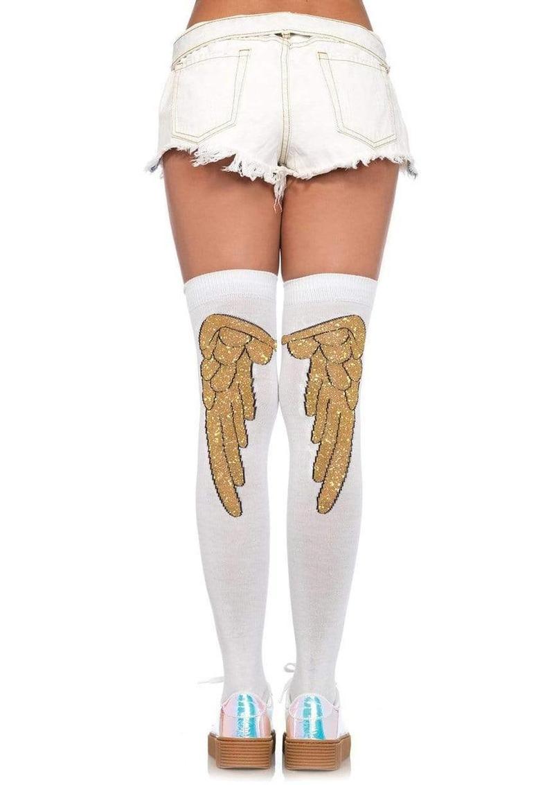 Leg Avenue Lurex Angel Wing Over The Knee Socks - White/Gold