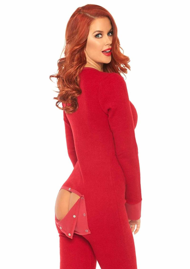 Leg Avenue Cozy Brushed Rib Long Johns With Cheeky Snap Closure Back Flap - XLarge - Red