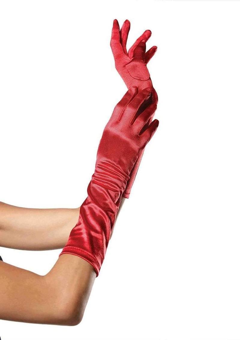 Leg Avenue Elbow Length Satin Gloves - O/S - Red