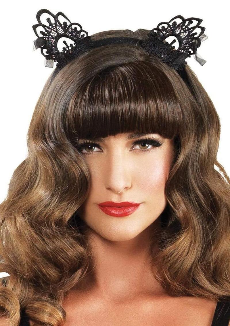 Leg Avenue Venice Lace Cat Ears With Organza Bows - O/S - Black