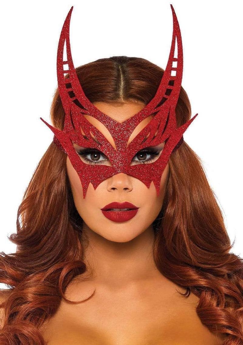 Leg Avenue Glitter Devil Mask - O/S - Red