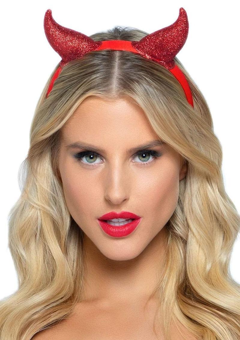 Leg Avenue Latex Glitter Devil Horn Headband - O/S - Red