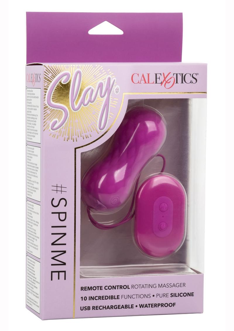 Slay #Spinme Silicone Rechargeable Rotating Vibrator with Remote Control - Purple