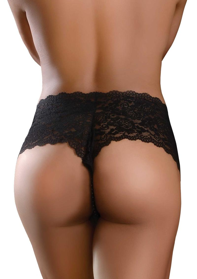 Hookup Panties Pleasure Pearl Boy Shorts - SM/LG - Black