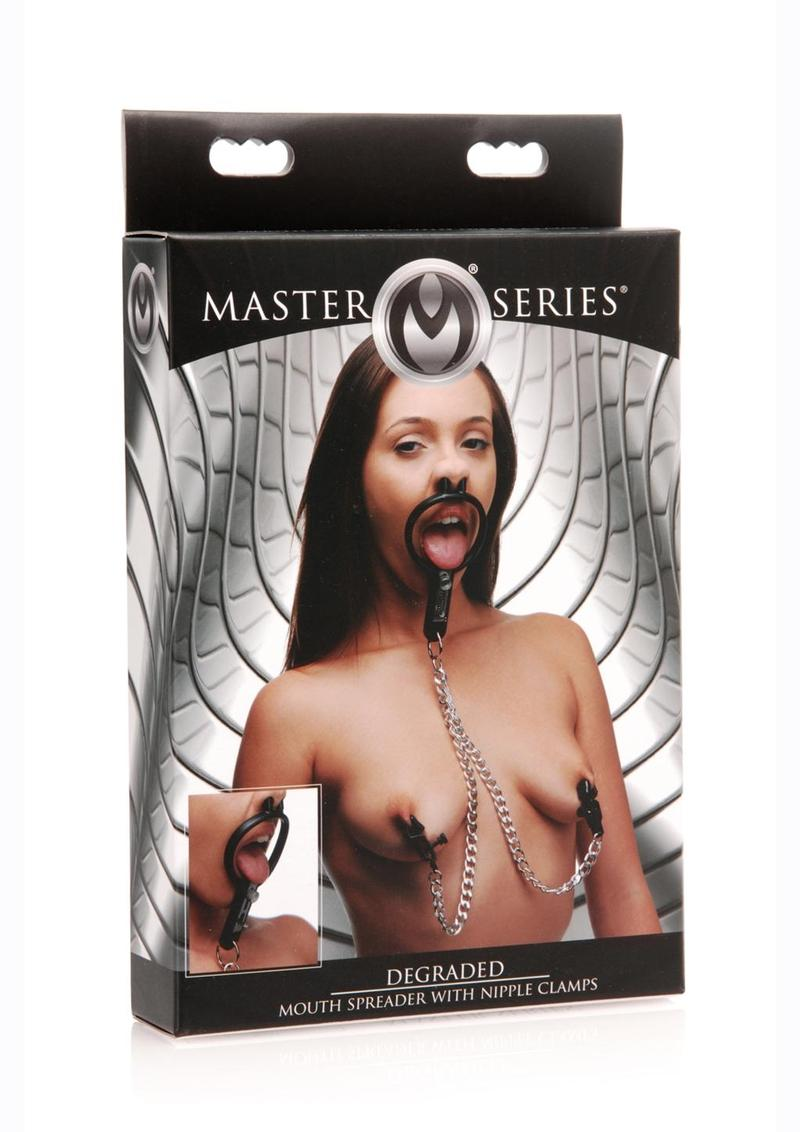 Master Series Degraded Mouth Spreader With Nipple Clamps - Black