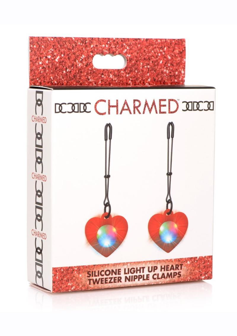 Charmed Silicone Light-Up Heart Tweezer Nipple Clamps - Red